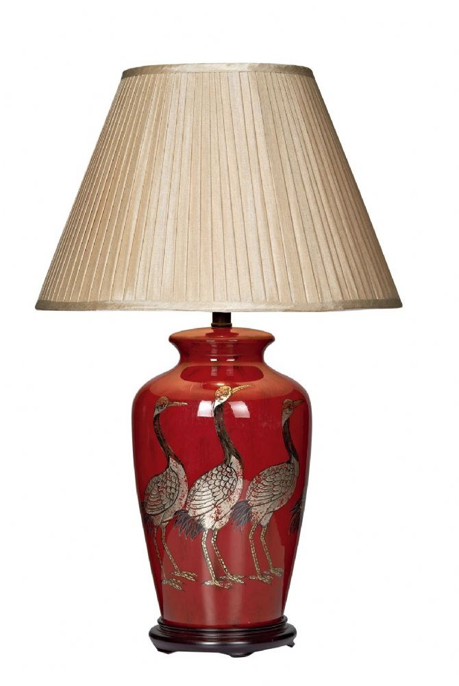 Dar Bertha Bird Table Lamp Red Base Only BER4225 (Class 2 Double Insulated)